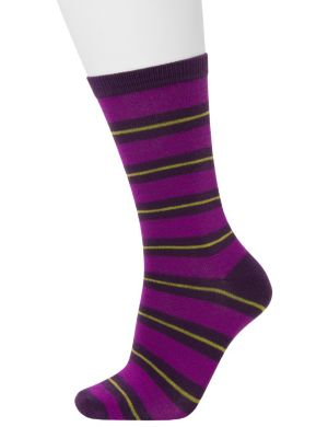 Striped and solid crew socks 2-pack