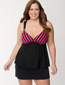 Striped swim tank with no-wire bra by LANE BRYANT