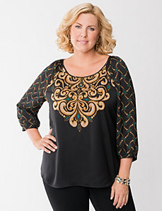 Embellished scroll blouse by LANE BRYANT