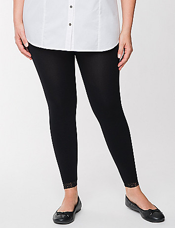 Control top capri legging with lace