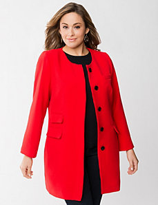 Collarless coat by LANE BRYANT