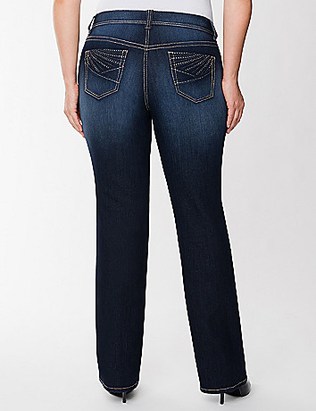 Rhinestone pocket slim boot jean