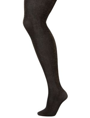 Subtle metallic control top tights