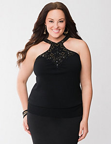 Beaded halter sweater by LANE BRYANT