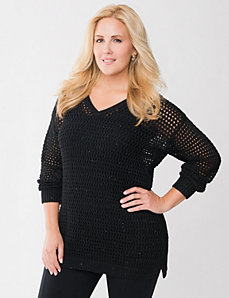 Mesh tunic with sequins by LANE BRYANT