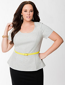 Lane Collection belted peplum top by LANE BRYANT