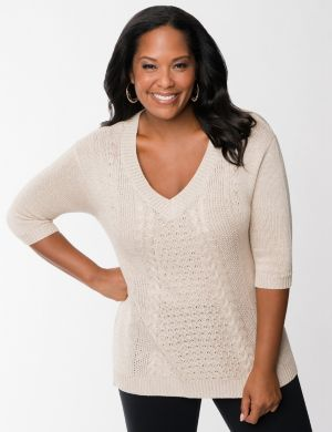 Metallic cable knit tunic