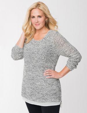 Sweater tunic with chiffon hem