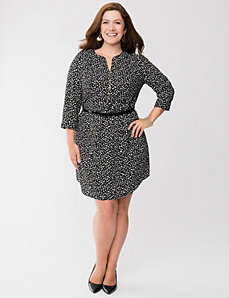 Printed shirt dress with zipper by LANE BRYANT