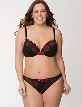 Rose Embroidered Plunge Bra Ensemble