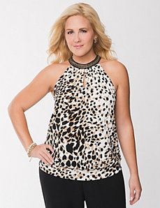 Leopard chain halter top
