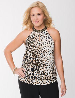 Leopard chain halter top