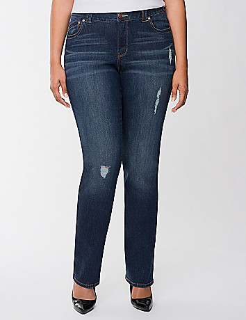 Genius Fit distressed straight leg jean