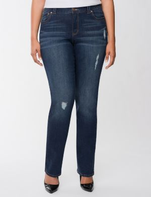 Genius Fit™ distressed straight leg jean