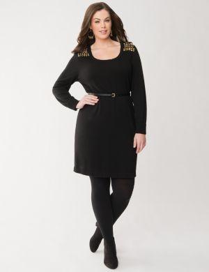 Studded sweater dress