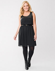 Faux leather & chiffon dress by LANE BRYANT