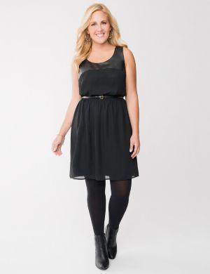 Faux leather & chiffon dress