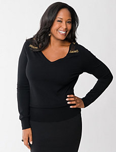 Beaded shoulder sweater by LANE BRYANT