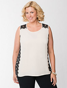 Lace panel tank by LANE BRYANT