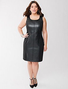 Faux leather shift dress