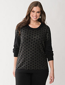 Geo embellished sweater by LANE BRYANT