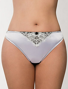 Satin & lace thong panty by LANE BRYANT