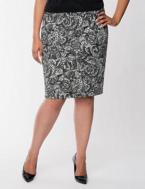 Lace print flounce skirt