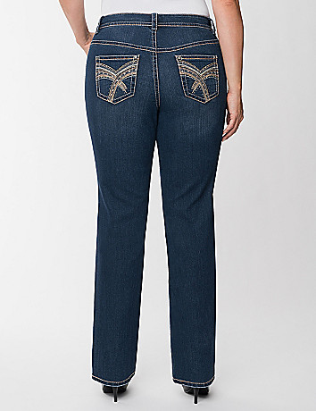 Embroidered straight leg jean
