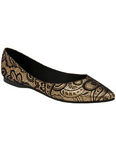 Metallic lace flat