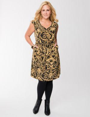 Brocade print dress