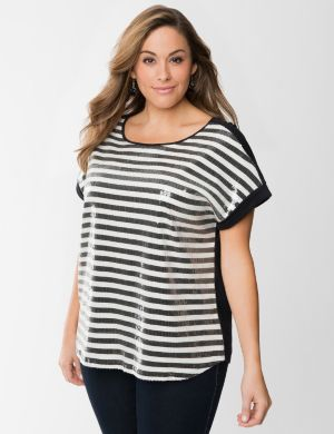 Striped sequin tee