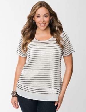 Open knit top with woven hem