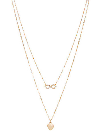 Heart & infinity necklace duo by Lane Bryant
