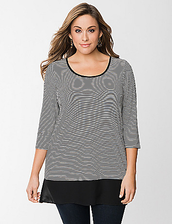 Striped tunic with chiffon hem