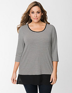 Striped tunic with chiffon hem by LANE BRYANT