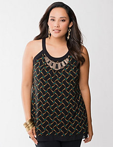 Printed tank with necklace