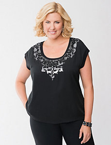 Sequin scroll tee by LANE BRYANT
