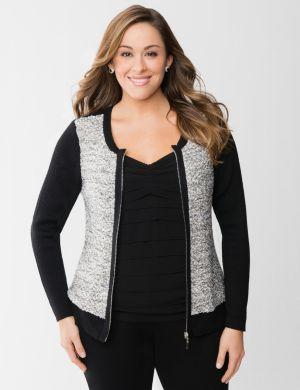 Sequined baseball sweater jacket