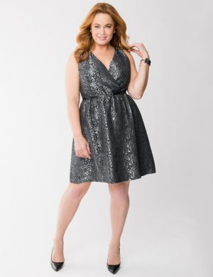 Brocade surplice dress