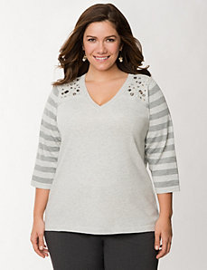 Rhinestone shoulder striped sweater by LANE BRYANT