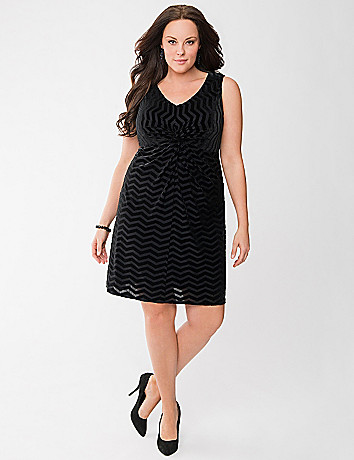 Chevron twist front dress