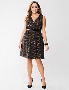 Bronze dot surplice dress by LANE BRYANT