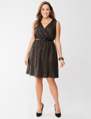 Bronze dot surplice dress