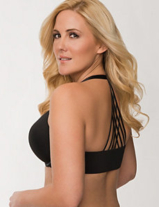 Strappy back front close plunge bra