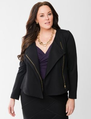 Lane Collection asymmetric ponte jacket