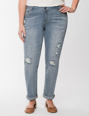 Light wash rolled cuff weekend jean