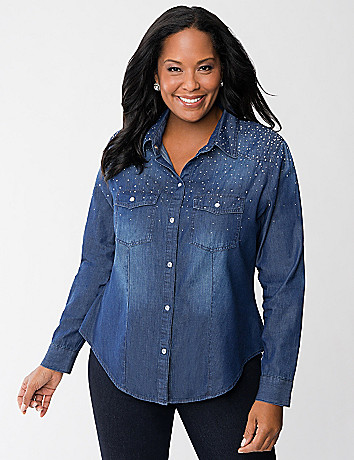 Studded Denim Shirt by Seven7