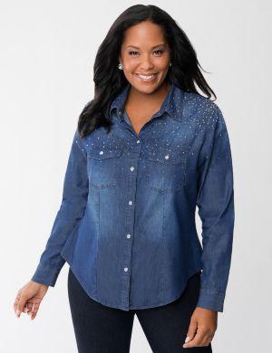 Studded denim shirt by Seven7