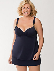 Solid swim top with built-in balconette bra