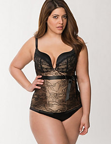 Cafe Corset with Black Lace Trim by Cacique